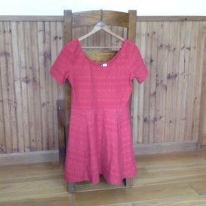 Red Knit Skater Dress